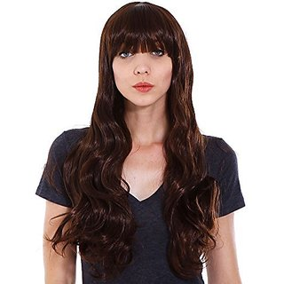 Simplicity Women's Sexy Long Curly Wavy Party Cosplay Full Hair Wig, Dark Brown