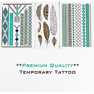 PREMIUM Temporary TattooTurquoise-Silver-Gold Fashion Body Jewelry - Feathers - Necklace - Dreamcatcher - Bird - Tribal