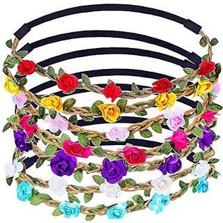 eBoot Multicolor Flower Headband Crown, 7 Pieces