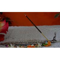 Beautifully White Metal Carved Leaf Shape Incense Stick Holder W/ganesh At End