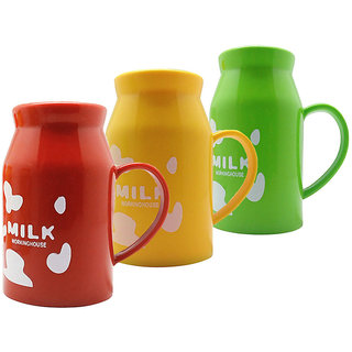 Tuelip Combo of Orange, Green And Red Drinking Hot Beverages Milk Mug For Kids