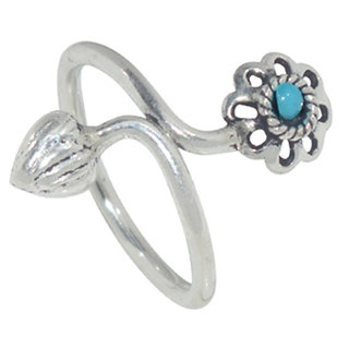 Kataria Jewellers Blue Stone Floral 92.5 BIS Hallmarked Silver Ring