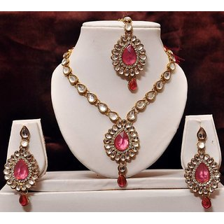 3ad745975ba21 Pink kundan necklace set