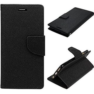 Fancy Artificial Leather Flip Cover For Sony Xperia E4  (Black)