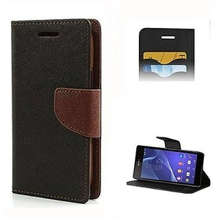 FANCY WALLET DIARY WITH STAND VIEW FLIP COVER For  Moto G 3  (Brown)
