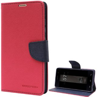 Fancy Artificial Leather Flip Cover For Micromax Unite 3 Q372  (Red)