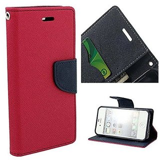 FANCY WALLET DIARY WITH STAND VIEW FLIP COVER For   Micromax A102 Canvas Doodle 3 (PINK)