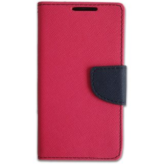 Fancy Artificial Leather Flip Cover For HTC Desire 516 (PINK)