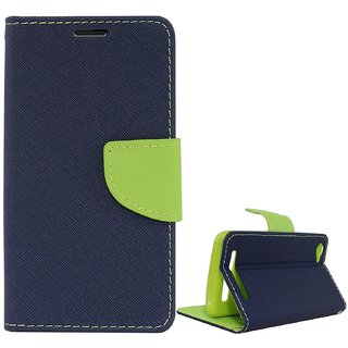 FANCY WALLET DIARY WITH STAND VIEW FLIP COVER For  Reliance Lyf Wind 5  (Blue)