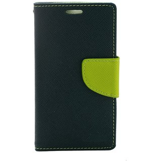 Fancy Artificial Leather Flip Cover For Moto E 2  (Blue)