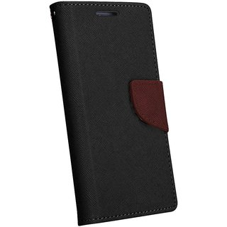 FANCY WALLET DIARY WITH STAND VIEW FLIP COVER For  Reliance Lyf Flame 4 (BROWN)