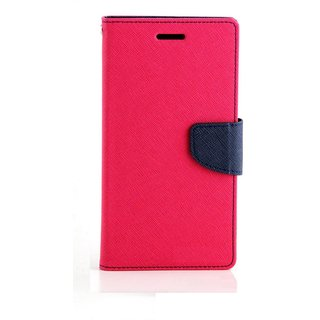 FANCY WALLET DIARY WITH STAND VIEW FLIP COVER For  Reliance Lyf Water 2  (Pink)