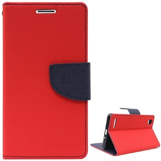FANCY WALLET DIARY WITH STAND VIEW FLIP COVER For  Micromax Canvas Blaze 4G Q400  (Red)