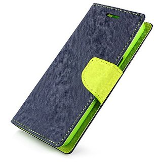 FANCY WALLET DIARY WITH STAND VIEW FLIP COVER For  Reliance Lyf Wind 1 (BLUE)