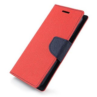 FANCY WALLET DIARY WITH STAND VIEW FLIP COVER For  Sony Xperia M2 (RED)