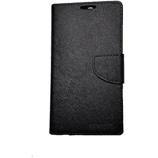 FANCY WALLET DIARY WITH STAND VIEW FLIP COVER For  Reliance Lyf Flame 1  (Black)