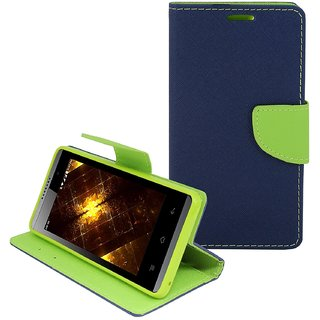 FANCY WALLET DIARY WITH STAND VIEW FLIP COVER For  Lenovo A1000  (Blue)