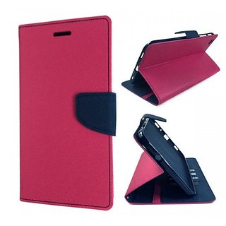 FANCY WALLET DIARY WITH STAND VIEW FLIP COVER For   Lenovo A5000 (PINK)