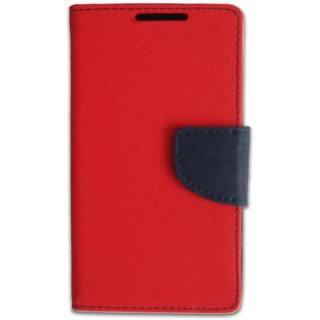 FANCY WALLET DIARY WITH STAND VIEW FLIP COVER For   Lenovo A6000 (RED)