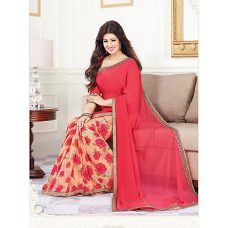 Genius Creation  Ayesha Takia Bollywood Printed Georgette Red Color Saree