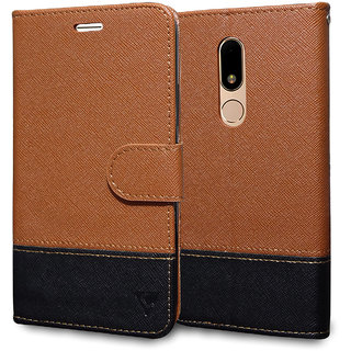 Ceego Wallet Flip Cover for Moto M - Credit Card Slots  Wallet Ultimate Value for Money - EcoGo Series Motorola Moto M Flip Case (Brown  Black)