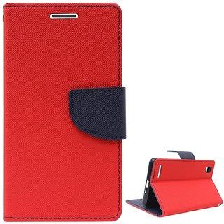 New Mercury Goospery Fancy Diary Wallet Flip Case Back Cover for  Moto E 2  (Red)