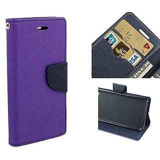 New Mercury Goospery Fancy Diary Wallet Flip Case Back Cover for  Sony Xperia M4 Aqua Dual  (Purple)