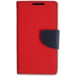 New Mercury Goospery Fancy Diary Wallet Flip Case Back Cover for  Reliance Lyf Wind 4  (Red)