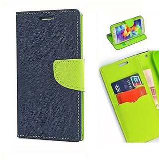 New Mercury Goospery Fancy Diary Wallet Flip Case Back Cover for  Reliance Lyf Earth 1  (Blue)