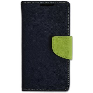 New Mercury Goospery Fancy Diary Wallet Flip Case Back Cover for  Reliance Lyf Wind 4 (BLUE)