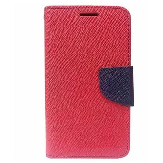 FANCY WALLET DIARY WITH STAND VIEW FLIP COVER For  HTC Desire 628 (RED)