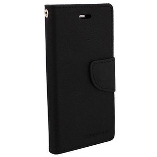 New Mercury Goospery Fancy Diary Wallet Flip Case Back Cover for  Reliance Lyf Flame 4 (BLACK)