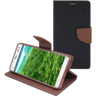 New Mercury Goospery Fancy Diary Wallet Flip Case Back Cover for  Reliance Lyf Flame 1  (Brown)