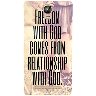 3D Designer Back Cover for Gionee Marathon M5 Plus :: Freedom with God comes from Relationship with God  ::  Gionee Marathon M5 Plus Designer Hard Plastic Case (Eagle-163)