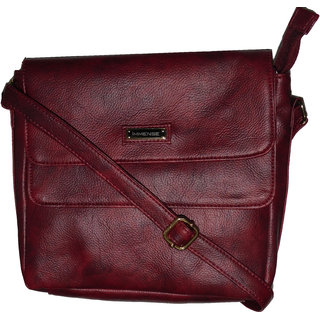 Immense Maroon Artificial Leather Sling Bag