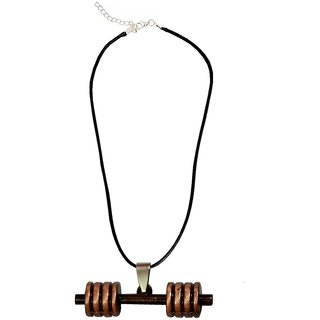 Men Style Bodybuilding Barbell Dumbbell Charm Grey Alloy and Leather Dumbbell Necklace Pendant For Men and Boys