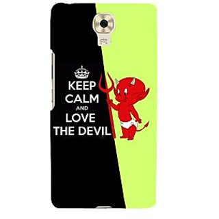 3D Designer Back Cover for Gionee Marathon M6 :: Keep Calm and Love the Devil  ::  Gionee Marathon M6 Designer Hard Plastic Case (Eagle-222)
