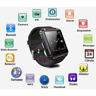 Bluetooth Smartwatch Black with apps (facebook,whatsapp,twitter etc.) compatible with Intex Aqua i15 by Creative