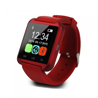 Bluetooth Smartwatch Red with apps (facebook,whatsapp,twitter etc.) compatible with Micromax A65 Smarty by Creative