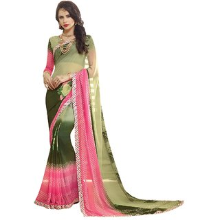 Aagaman Fashion Amusing Green Colored Printed Faux Georgette Casual Wear Saree