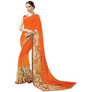 Aagaman Fashion Stylish Orange Colored Printed Faux Georgette Officewear Saree