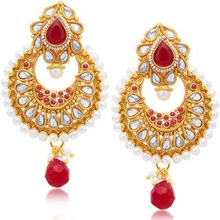 Sukkhi Gold Plated Gold Brass & Copper Chandbali for Women