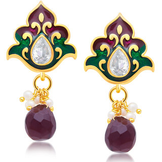 Sukkhi Gold Plated Gold Brass & Copper Dangle Earrings for Women