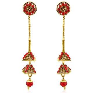 Sukkhi Gold Plated Gold Brass  Copper Dangle Earrings for Women