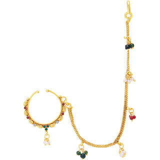 Sukkhi Gold Plated Gold Brass & Copper Nose Jewellery for Women