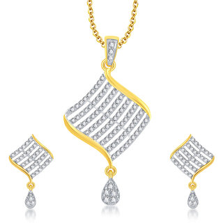 Sukkhi Gold Plated Gold Alloy Pendant With Chain & Earrings for Women