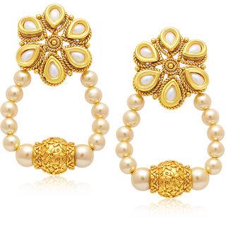 Sukkhi Gold Plated Gold Brass & Copper Dangle Earrings for Women