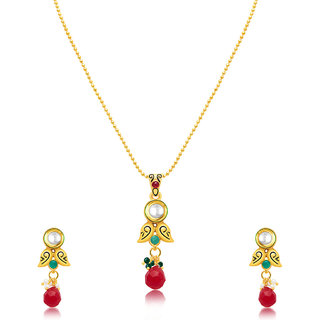 Sukkhi Gold Plated Gold Brass & Copper Pendant With Chain & Earrings for Women
