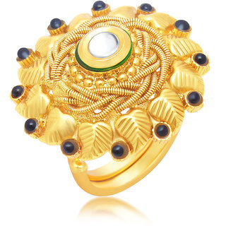 Sukkhi Gold Plated Gold Brass & Copper Ring for Women