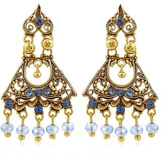 Sukkhi Gold Plated Gold Brass & Copper Chandelier Earrings for Women